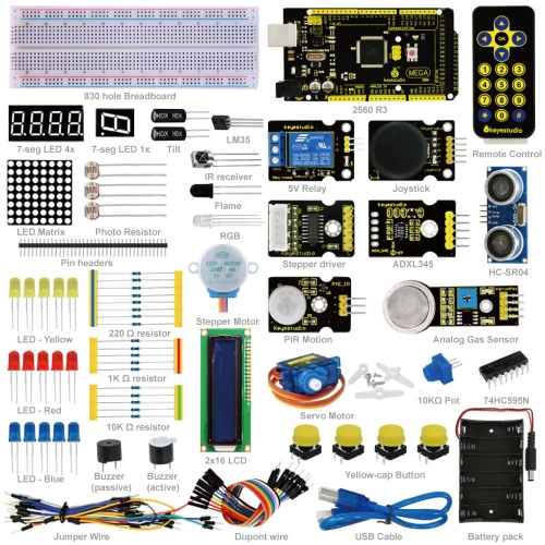 Keyestudio Advanced Starter Learning Kit For Arduino Education Project  with MEGA 2560R3 1602 LCD+PDF