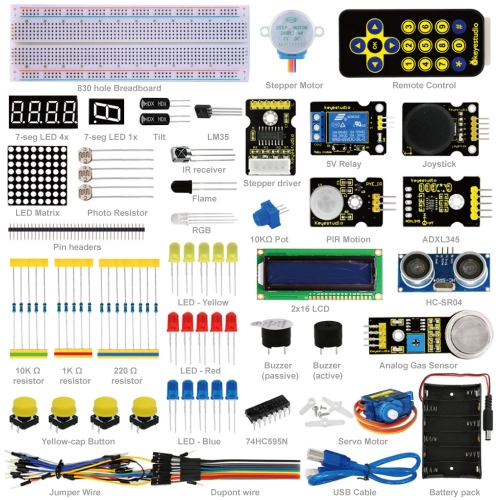 Free Shipping! Keyestudio Advanced Starter Learning Kit  (no MCU Board) for Arduino Programming Education + Ultrasonic+PDF