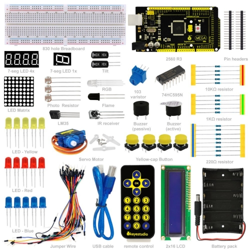 Free shipping! New! Keyestuio Basic Starter Learning Kit For Arduino Education Project With MEGA2560 R3 1602 LCD