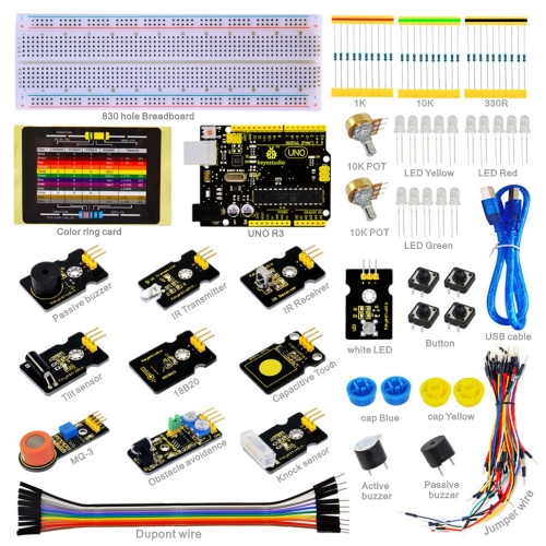 NEW! keyestudio Sensor Starter Kit-K1 For Arduino Education Learning Programming with UNO R3 +DS18B20+IR Receiver+IR Transmitter