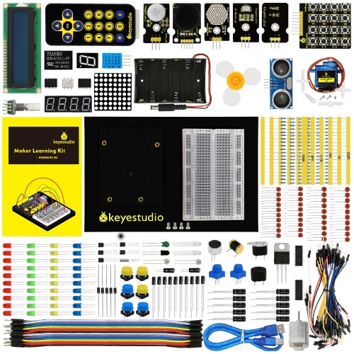 Keyestudio Maker Learning Kit/Starter Kit(NO UNOR3  Board) For Arduino  Starter W/Gift BOX+UNO Platform +1602 LCD+Servo+LEDs+PDF