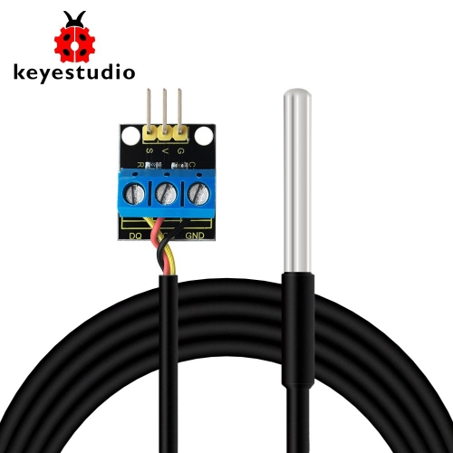 Keyestudio DS18B20 Waterproof /Stainless steel Temperature Detector Sensor With Module  (Black and Eco-friendly)