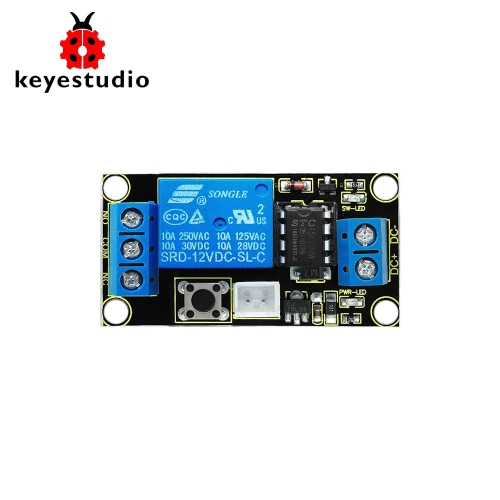 Keyestudio Button-Controlled One Channel 12V Relay Module For Arduino (Black and Environmental-friendly)