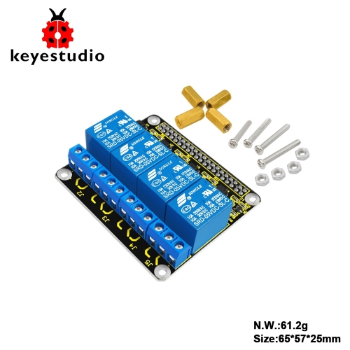 Keyestudio RPI 4channel-Relay 5V Shield for Raspberry Pi/ CE certification