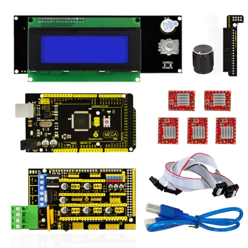 Keyestudio 3 D Printer Kit RAMPS 1.4 + Mega 2560 + 5x A4988 motor driver + LCD 2004 Cotroller For Arduino Project