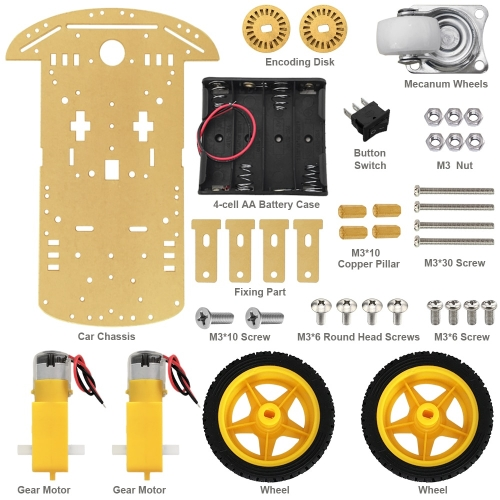 Free shipping! Tracing magnetic motor with encoder tachometer smart car chassis for Arduino Robot