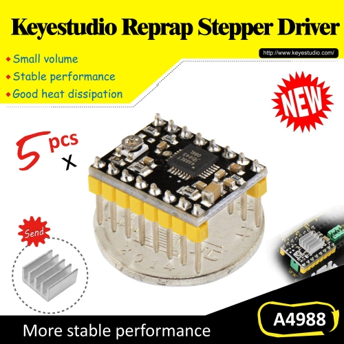 Free shipping! (5pcs/lot)  A4988 Stepper M otor Driver+ Heatsink For 3 D Printer,Reprap,RAMPS1.4 for arduino
