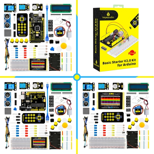 2019 NEW! keyestudio Basic Starter V2 Kit for Arduino no board or with UNO board or mega 2560 board