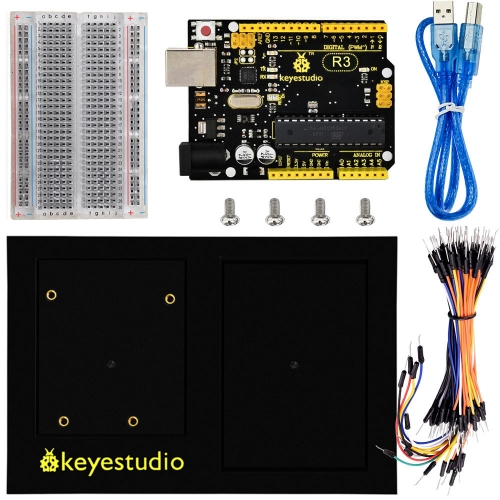 Keyestudio R3 Board +400 Holes  Transparent Breadboard +Chassis +65 Jumper Wires +50 cm USB Cable For Arduino DIY Project