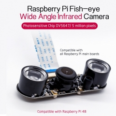 Raspberry Pi4B IR Camera Night Vision Focal Adjustable 5MP 1080P Fish Eye Wide Angle Camera Module Compatible with All RPI Board