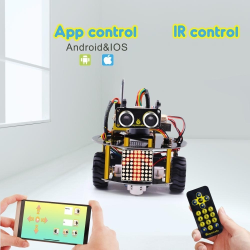 NEW UPDATE! Keyestudio Smart Little Turtle Robot V3.0 for Arduino Robot STEM/Support IOS &Android APP Control