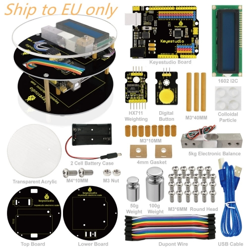 Free Shipping to EU !! Keyestuido DIY Electronic Scale Starter Kit For Arduino Education Programming based on UNO R3 + 64 Page Book Manual