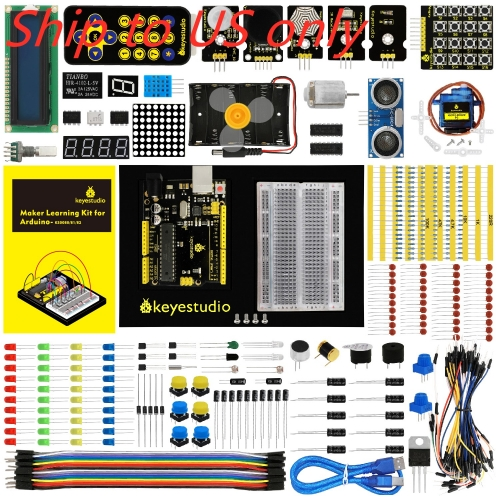 Free shipping to US !! Keyestudio Maker Learning kit /Starter kit For Arduino Project W/Gift Box+User Manual +1602LCD+Chassis+PDF(online)