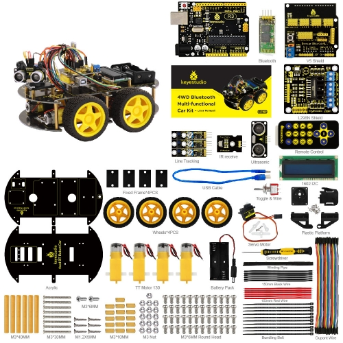 Shipping to US!! Keyestudio 4WD  Multi-functional DIY Smart Car For Arduino Robot Education Programming+User Manual+PDF(online)+Video
