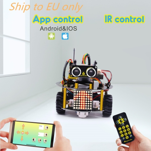 Free shipping to EU!!Keyestudio Smart Little Turtle Robot V3.0 for Arduino Robot STEM/Support IOS &Android APP Control