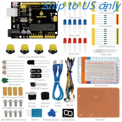 Free Shipping to US !! KEYESTUDIO R3 Breadboard kit For Arduino Education Project with dupont wire+LED+resistor+PDF