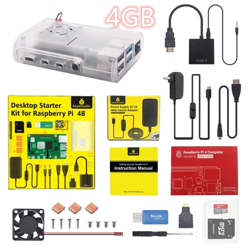 Original Raspberry Pi 4B Kit + ABS Case + 32GB SD Card+  US Plug Power Adapter + Fan+ Heat Sink + HDMI Cable for Raspberry Pi 4