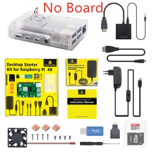 Original Raspberry Pi 4B Kit + ABS Case + 32GB SD Card+ EU Plug Power Adapter + Fan+ Heat Sink + HDMI Cable for Raspberry Pi 4