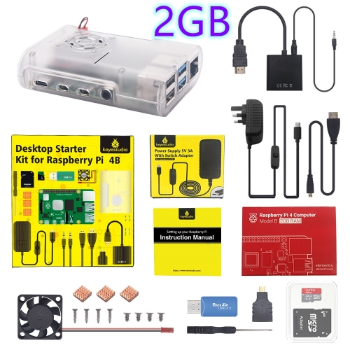 Original Raspberry Pi 4B Kit + ABS Case + 32GB SD Card+ UK Plug Power Adapter + Fan+ Heat Sink + HDMI Cable for Raspberry Pi 4