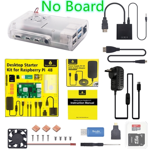 Original Raspberry Pi 4B Kit + ABS Case + 32GB SD Card+ AU Plug Power Adapter + Fan+ Heat Sink + HDMI Cable for Raspberry Pi 4
