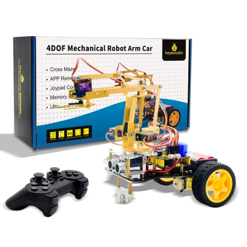 Keyestudio 4DOF Mechanical Arm  Robot Car Learning Starter Kit W/PS2 Contoller for Arduino Robot/Support Android &IOS