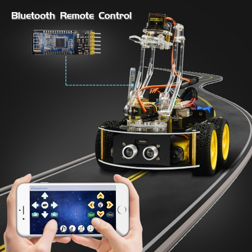 Keyestudio 4WD Mechanical Arm Robot Smart Car for Arduino Robot /Support Android &IOS