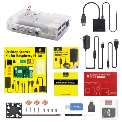 Raspberry Pi 4B complete kits with US plug power supply  (with Raspberry Pi 4GB)