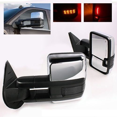 SYPPO Tow Mirrors for 14-17 Silverado Sierra Power Heated Smoke LED Turn Signals Chrome Cover