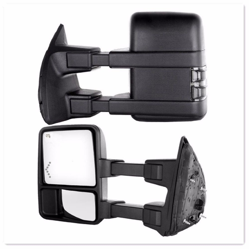 SYPPO Tow Mirrors for 99-07 Ford F250-F550 Super Duty Power Heated Arrow Signal Smoke lens