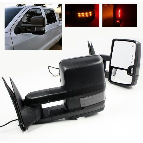 SYPPO Tow Mirrors for 2014-2017 Chevy Silverado 1500 Sierra Power Heated Smoke LED Signal Black