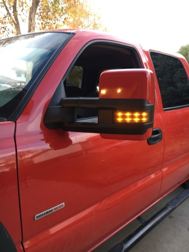 SYPPO Tow Mirrors for 03-06 Chevy Silverado Sierra Power Heated Smoked LED Signals With Paintable Caps
