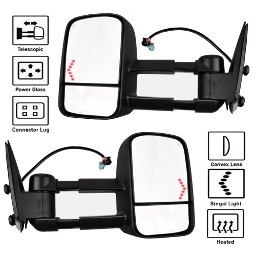 SYPPO Tow Mirrors for 03-07 Silverado Tahoe Pickup Power Heated LED Signal Pair