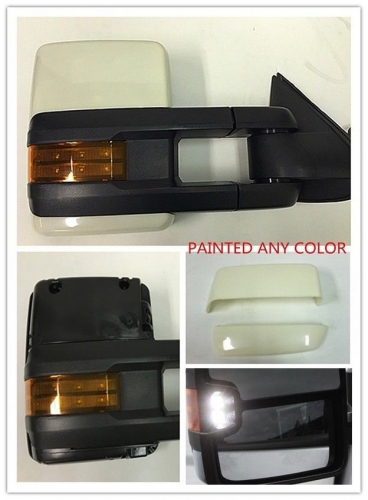 For 07-13 Chevy Avalanche Power Heated Towing Mirror LED Signals Base Paintable Color Caps