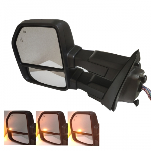 For 2014-2017 Ford F150 Tow Mirrors Power Heated Dynamic Turn Signal Black w/ Park & Spot & Puddle Lamp