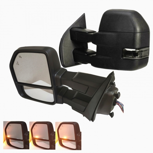 For 2018-2019 Ford F150 Power Tow Mirrors Heated w/ Dynamic Turn Signal Black w/ Park & Spot & Puddle Lamp Smoked Lens