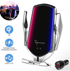 Wireless Charger Car Touch Sensing Automatic Retractable Clip Fast Charging Compatible for iPhone Xs Max/XR/X/8/8Plus