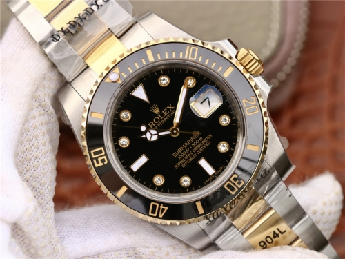 Rolex Submariner Date 116613LN 2018 GM V8S 24K Yellow Gold Wrapped & Stainless Steel Black Dial Swiss 3135 diamond