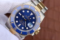 Rolex Submariner Date 116613LB 2018 Noob Factory V8S 1:1 Best Edition, Stainless Steel, Blue Ceramic Bezel, Blue Dial, 24K Yellow Gold Wrapped & Stain