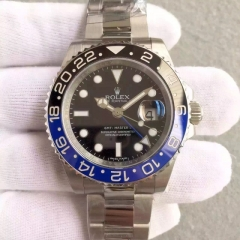 Rolex GMT-Master 116710  II 116710BLNR Batman Noob Factory V8 1:1 Best Edition, Stainless Steel, Black & Blue Ceramic Bezel & Platinum Markers, Black