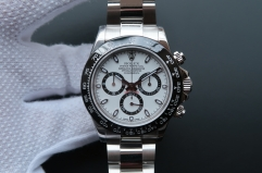 Rolex Daytona Cosmograph 116500LN Noob Factory 1:1 Best Edition, 40MM, Stainless Steel, Black Ceramic Bezel, White Dial, Stainless Steel Bracelet, SWI