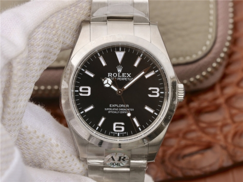 Rolex Explorer 214270 Noob Factory AR 1:1 Best Edition, Stainless Steel 904L, Black Dial, Stainless Steel Bracelet, SWISS 3132 Automatic Movement