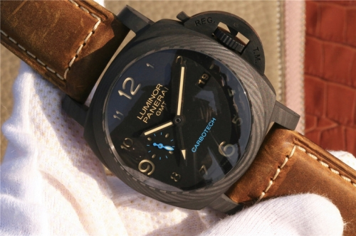 "Panerai Luminor PAM 441 Real Ceramic Case ""Ceramica"" Dial XF Factory V2 1:1 Best Edition on Brown Asso Leather Strap P.9001 Super Clone"