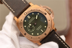 Panerai Luminor Submersible 1950 PAM382 Noob Factory VS 1:1 Best Edition, 47MM, Bronze, Bronze Bezel, Green Dial, Brown Leather Strap, SWISS Panerai P