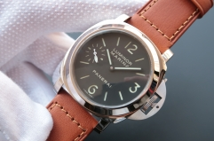 Panerai Luminor PAM111 N Stainless Steel Noob 1:1 Best Edition V4 on Brown Calf leather Strap A6497 with Y-Incabloc