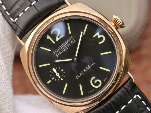 Panerai Radiomir 1940 PAM575 R Rosegold Case Black Dial V6F 1:1 Best Edition on Black Leather Strap P.1000