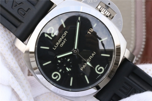 Mens Panerai Luminor Marina 1950 3 Days GMT PAM320 VS V2 Stainless Steel Black Dial Swiss P9001 watches
