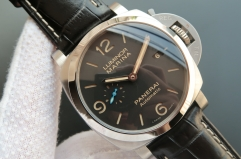 Panerai Luminor 1950 PAM1312 S ZF 1:1 Best Edition Stainless Steel Black Dial on Black Leather Strap P9010
