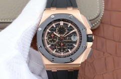 Audemars Piguet Royal Oak Offshore 44mm 26401RO.OO.A002CA.02 Gold/Black 2017 Real Ceramic JF 1:1 Best Edition Black Dial RG Markers On Black Rubber St