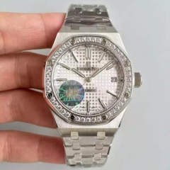 Audemars Piguet Royal Oak 37mm 15451 Stainless Steel Case Diamond Bezel JF 1:1 Best Edition Silver Dial on Stainless Steel Bracelet ETA 3120