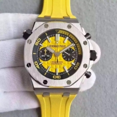 Audemars Piguet Royal Oak Offshore Diver 26703ST Stainless Steel Case Chronograph Yellow JF 1:1 Best Edition V2 on Yellow Rubber Strap ETA 3126 (Corre